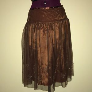 Dresses & Skirts - Bronze evening skirt with sequin accent